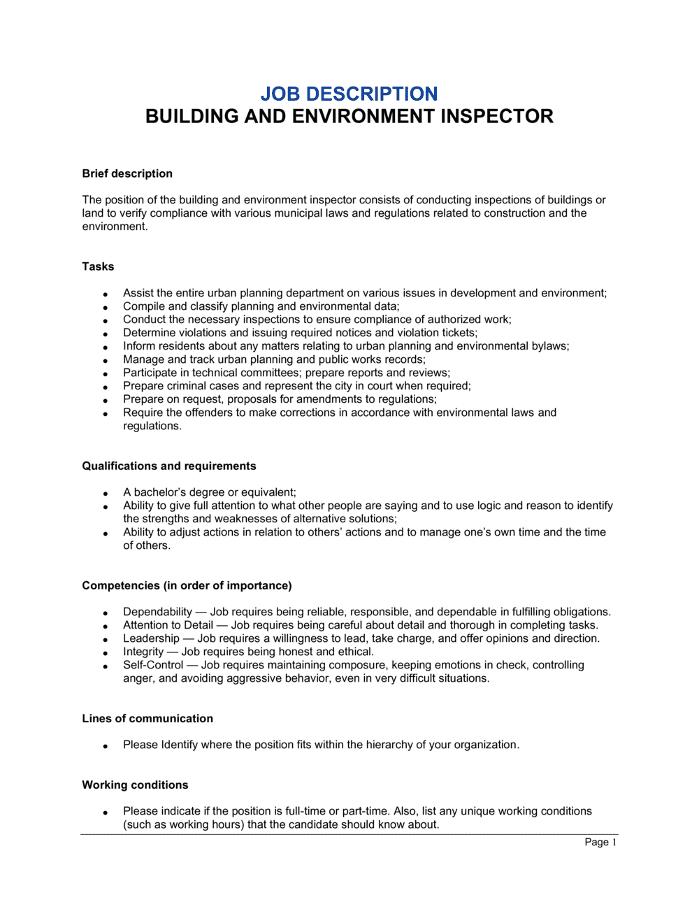 Business-in-a-Box's Building and Environment Inspector Job Description Template
