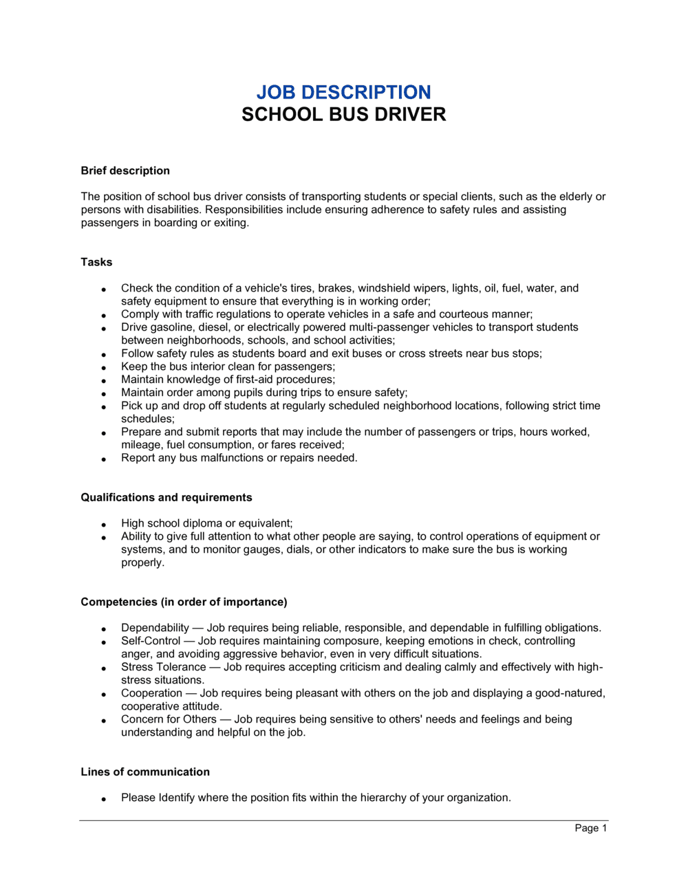 Business-in-a-Box's Bus Driver School Job Description Template