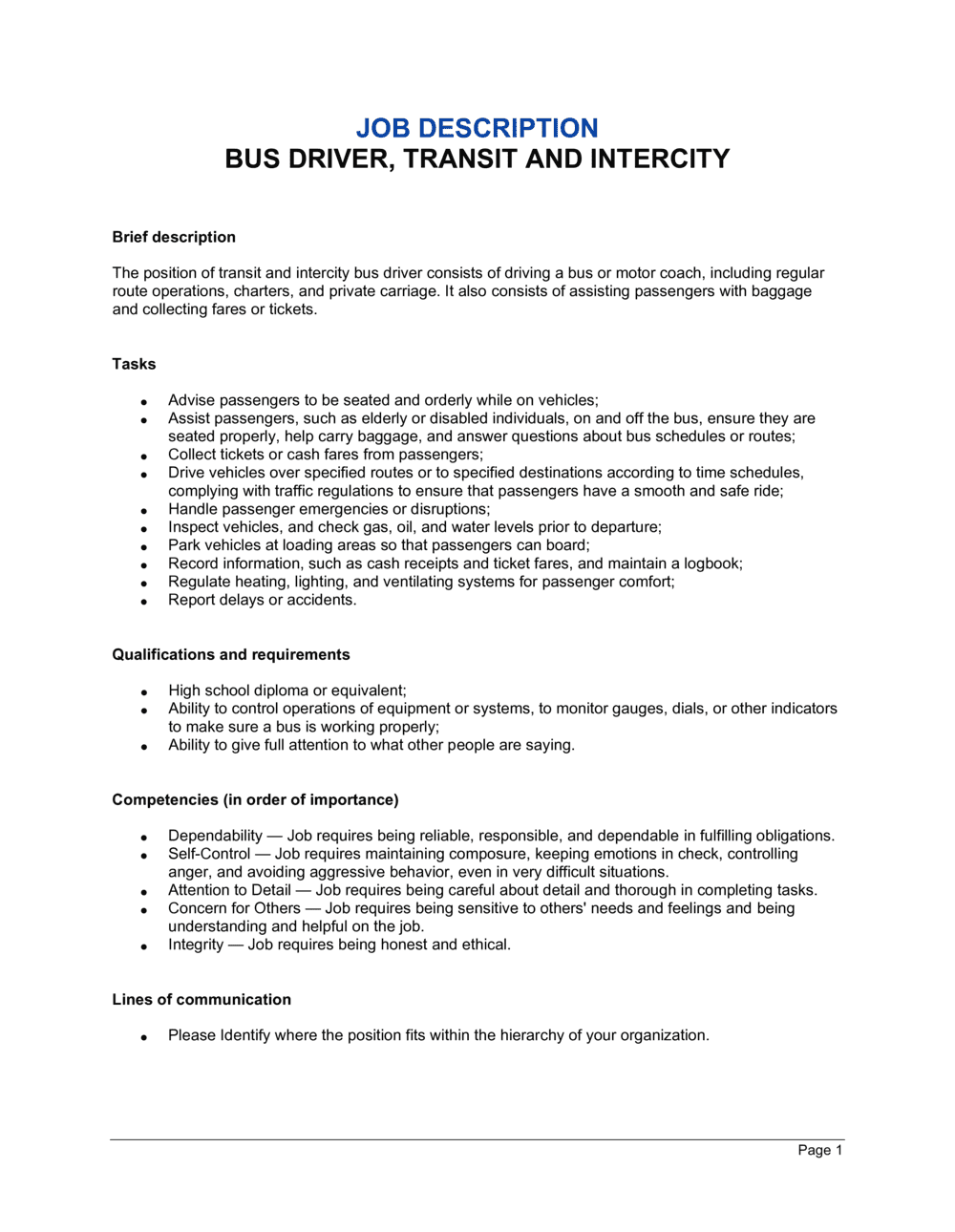 Business-in-a-Box's Bus Driver Transit and Intercity Job Description Template