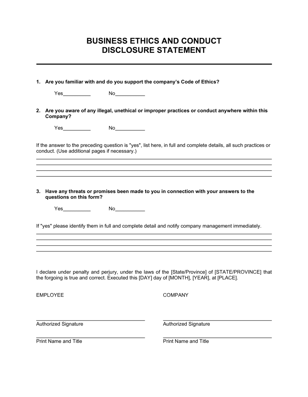 Business-in-a-Box's Business Ethics and Conduct Disclosure Statement Template