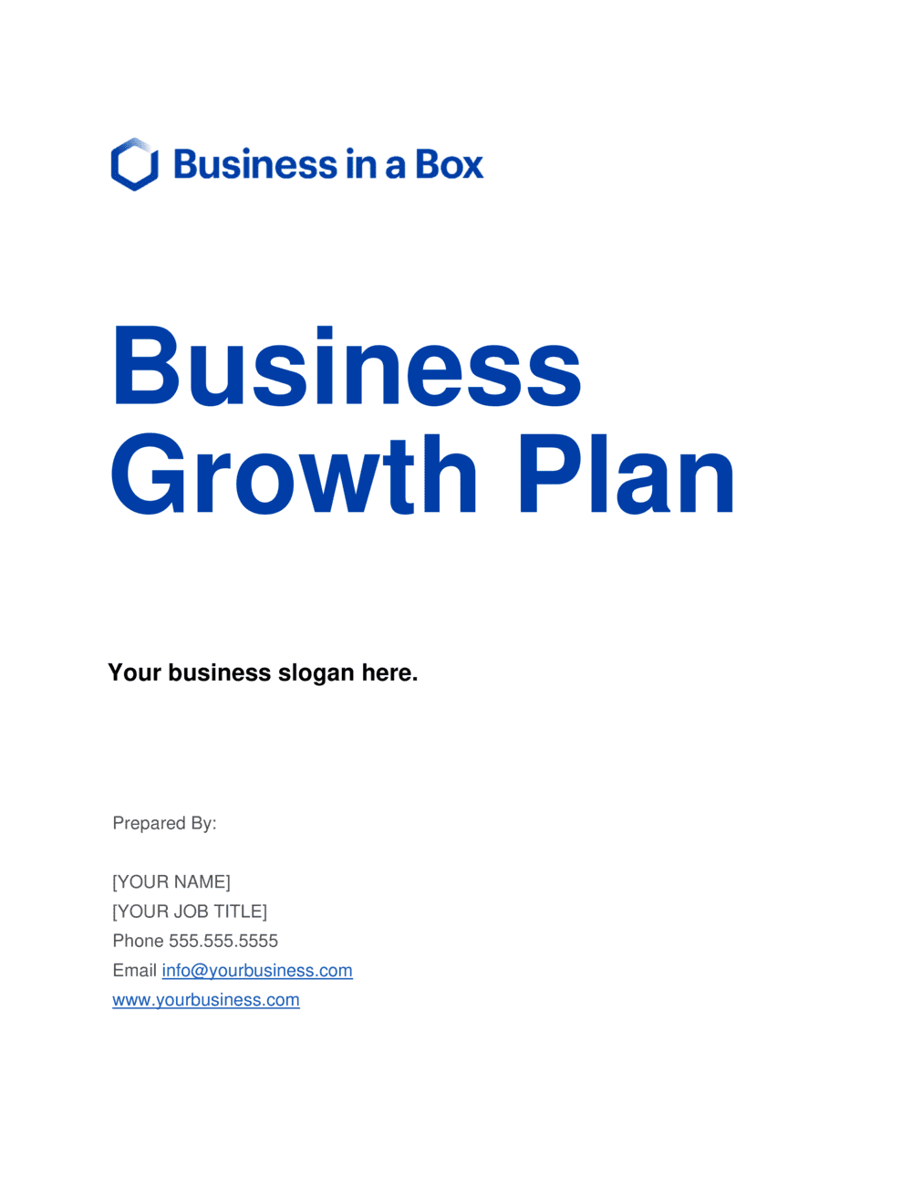 Business-in-a-Box's Business Growth Plan Template