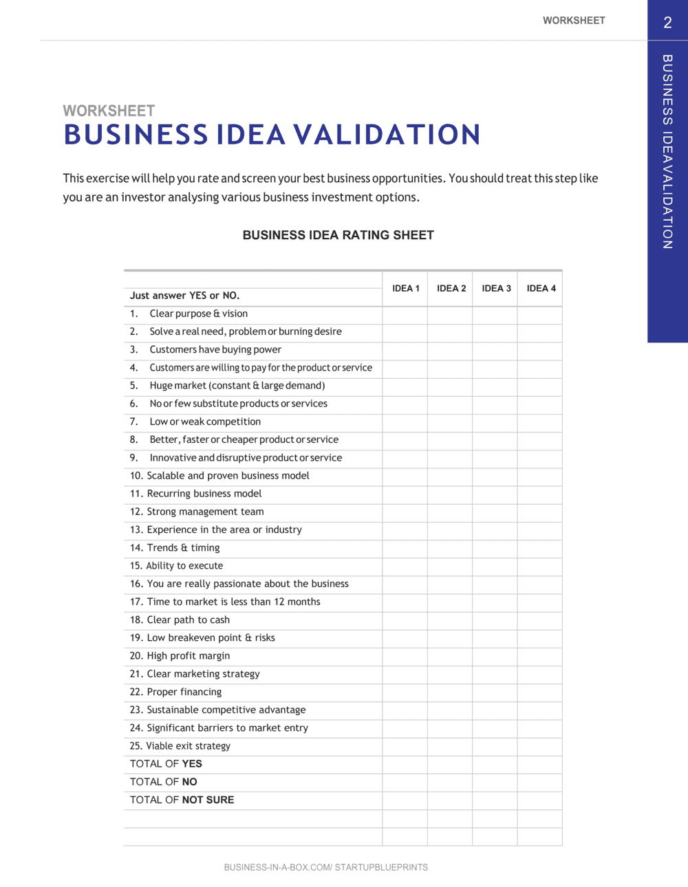 Business-in-a-Box's Business Idea Validation_startup Blueprints_chapter 2 Worksheet Template