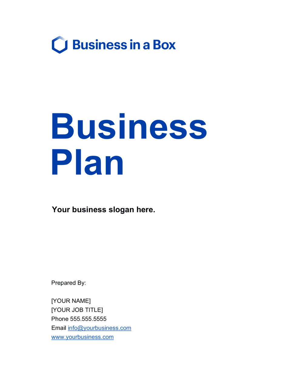 Business-in-a-Box's Business Plan - Cover Page White Template