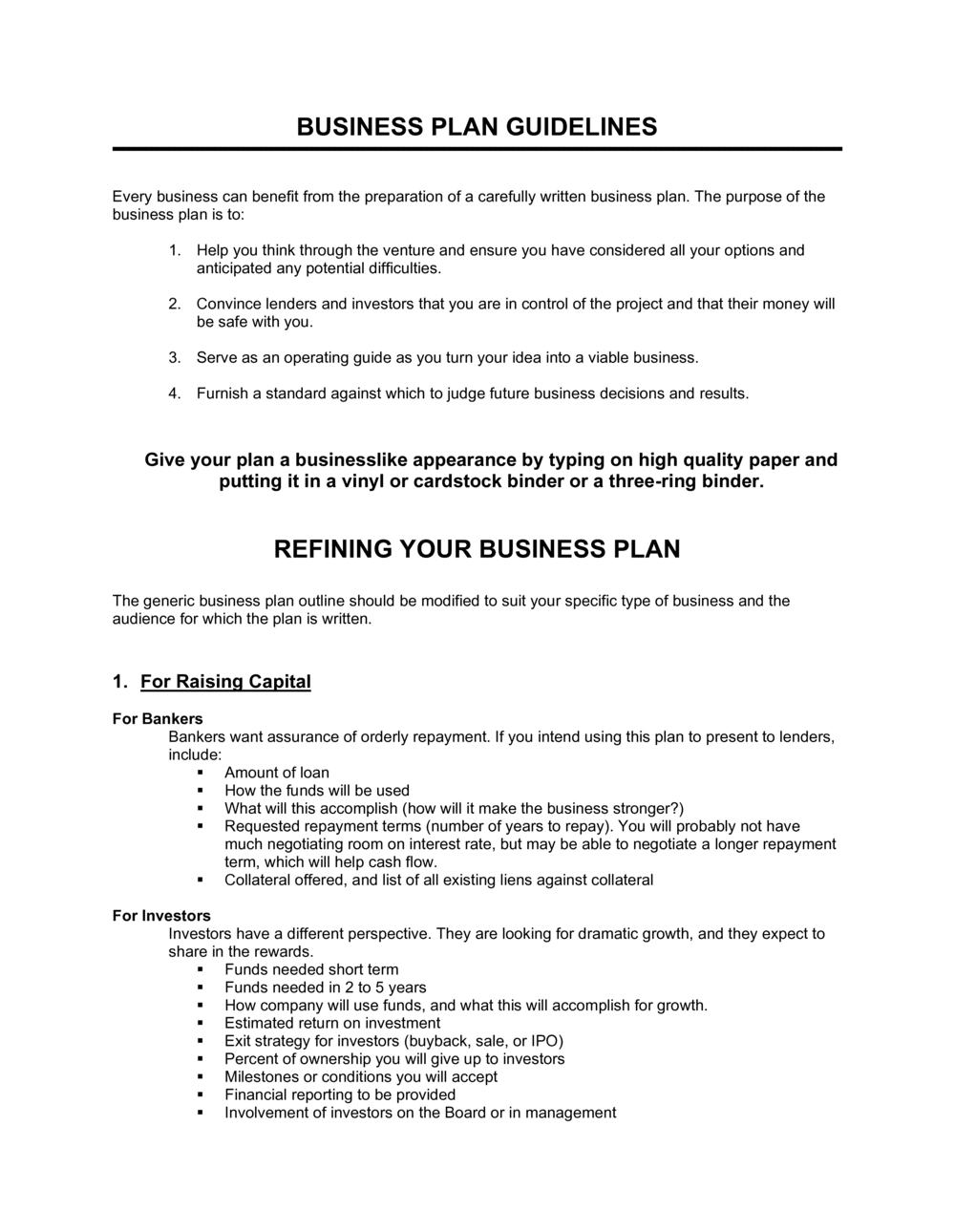 Business-in-a-Box's Business Plan Guidelines Template