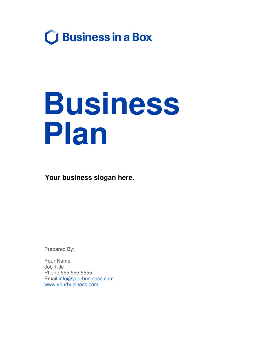 Business-in-a-Box's Business Plan Template - Short Version Template