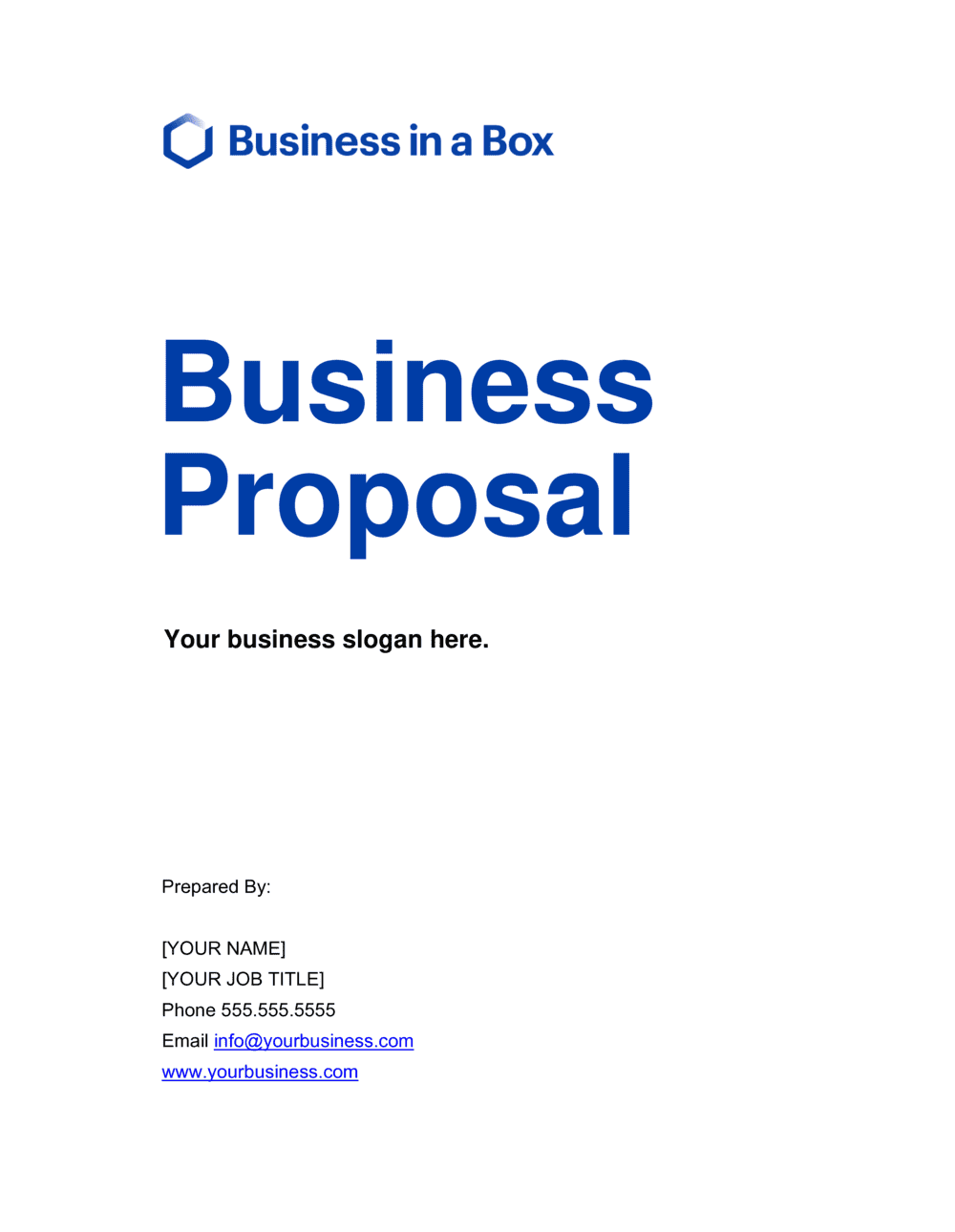 Business-in-a-Box's Business Proposal - Short Template