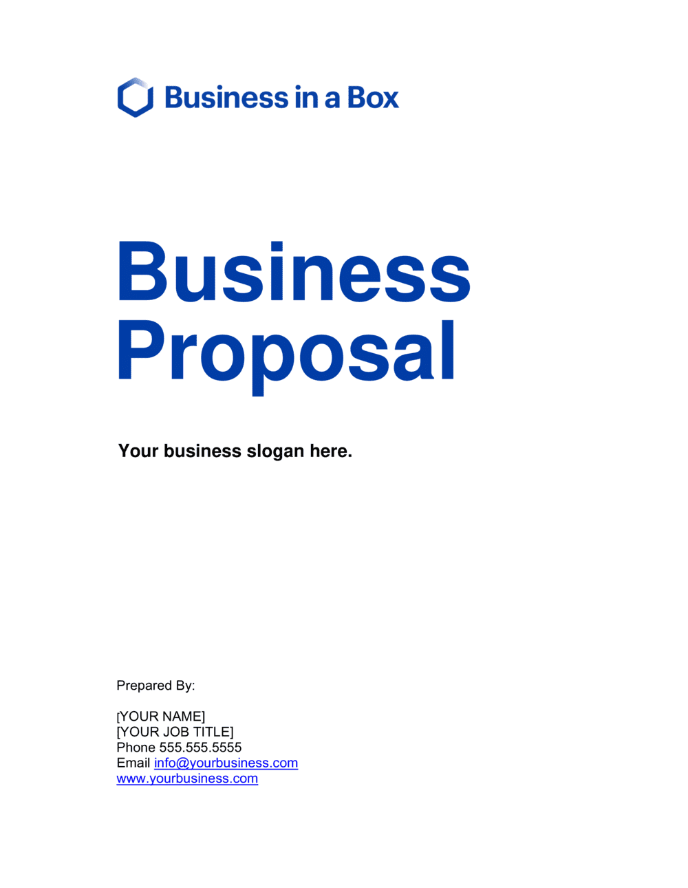Business Proposal Template By Business In A Box