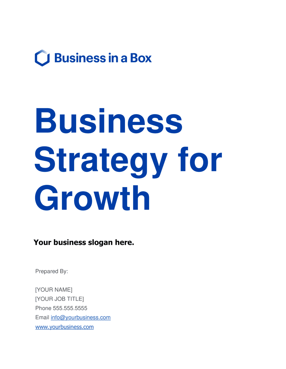 Business-in-a-Box's Business Strategy For Growth Template