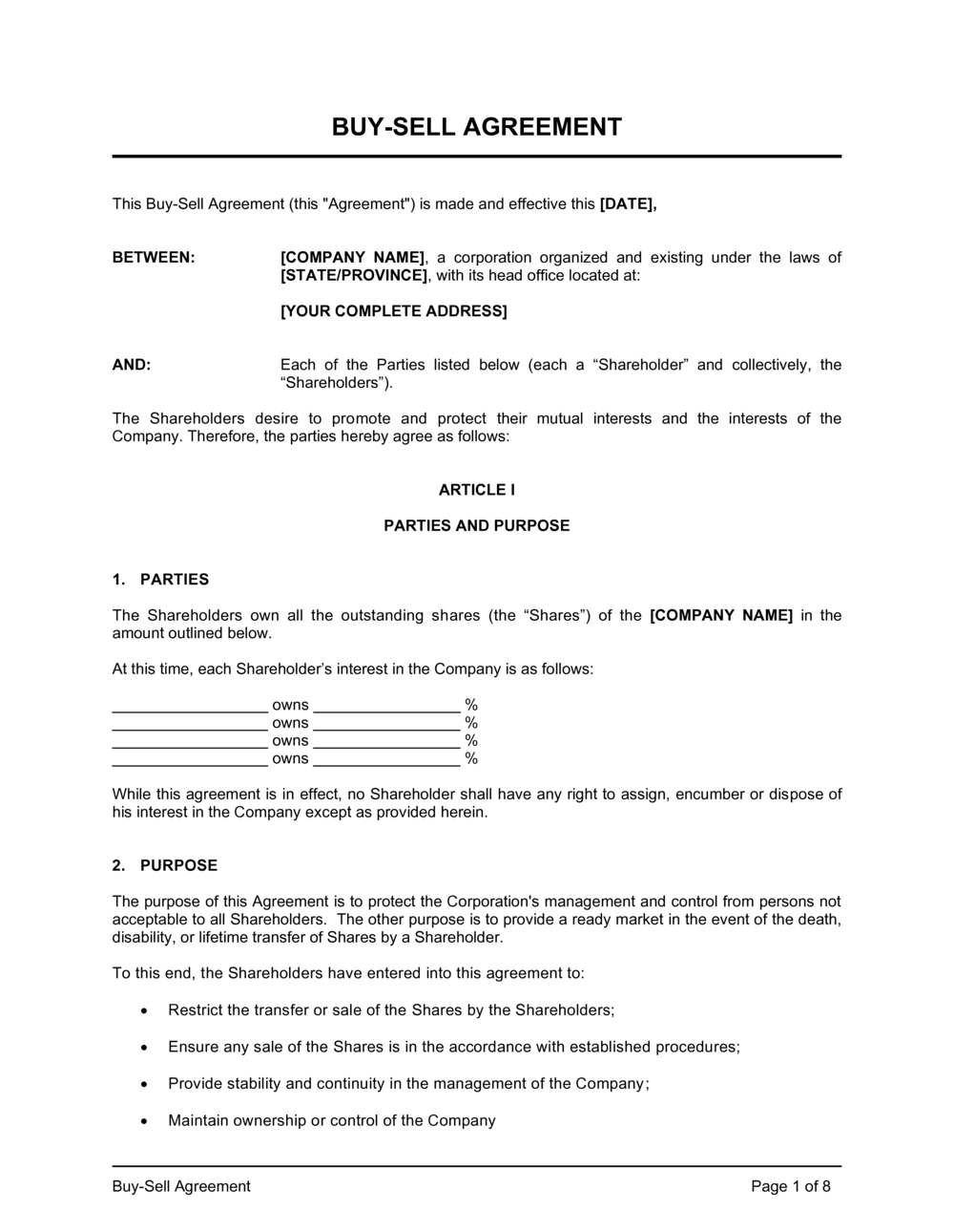 Business-in-a-Box's Buy Sell Agreement Template