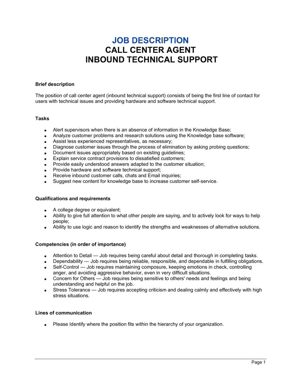 Business-in-a-Box's Call Center Agent Inbound_Technical Support Job Description Template