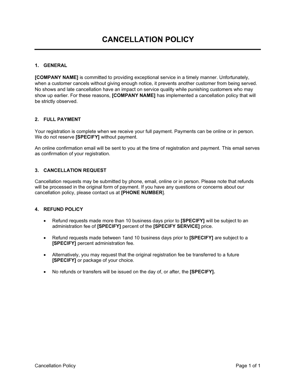 Business-in-a-Box's Cancellation Policy Template