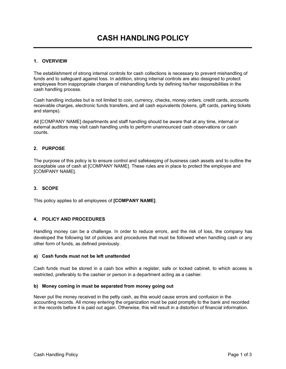 Business-in-a-Box's Cash Handling Policy Template