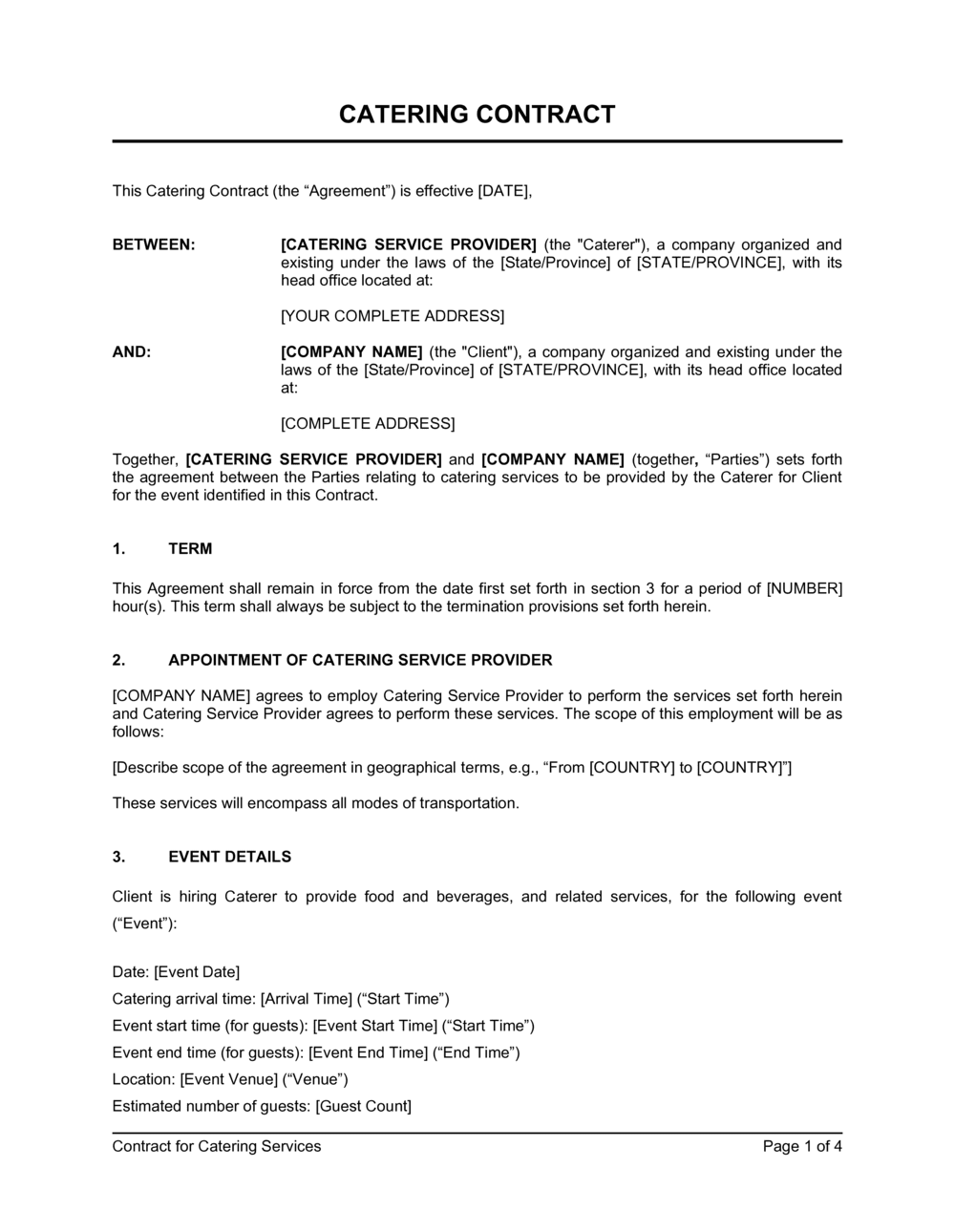 Business-in-a-Box's Catering Contract Template