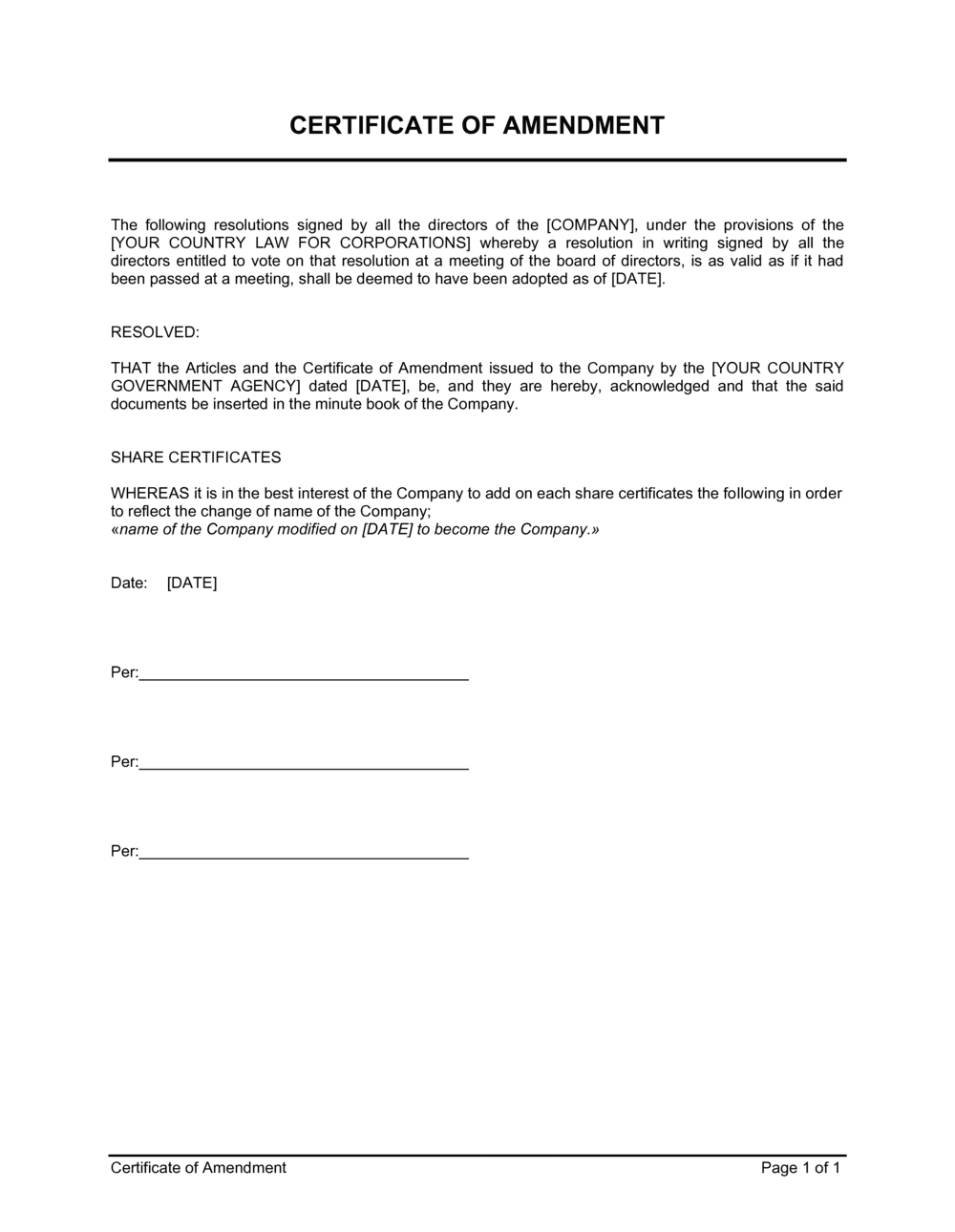 Business-in-a-Box's Certificate of Amendment Template