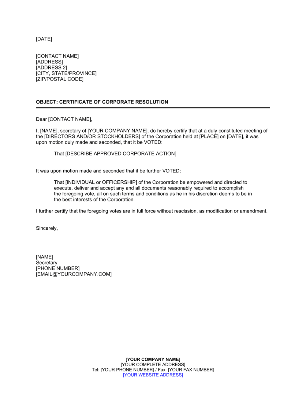 Business-in-a-Box's Certificate of Corporate Resolution Template