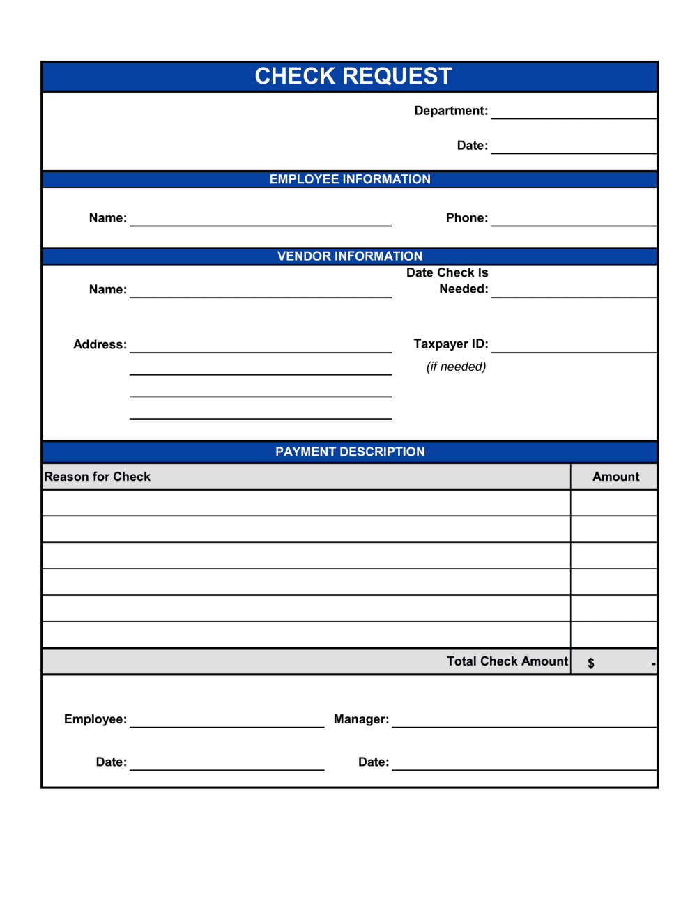 Check Request Form Template By Business In A Box