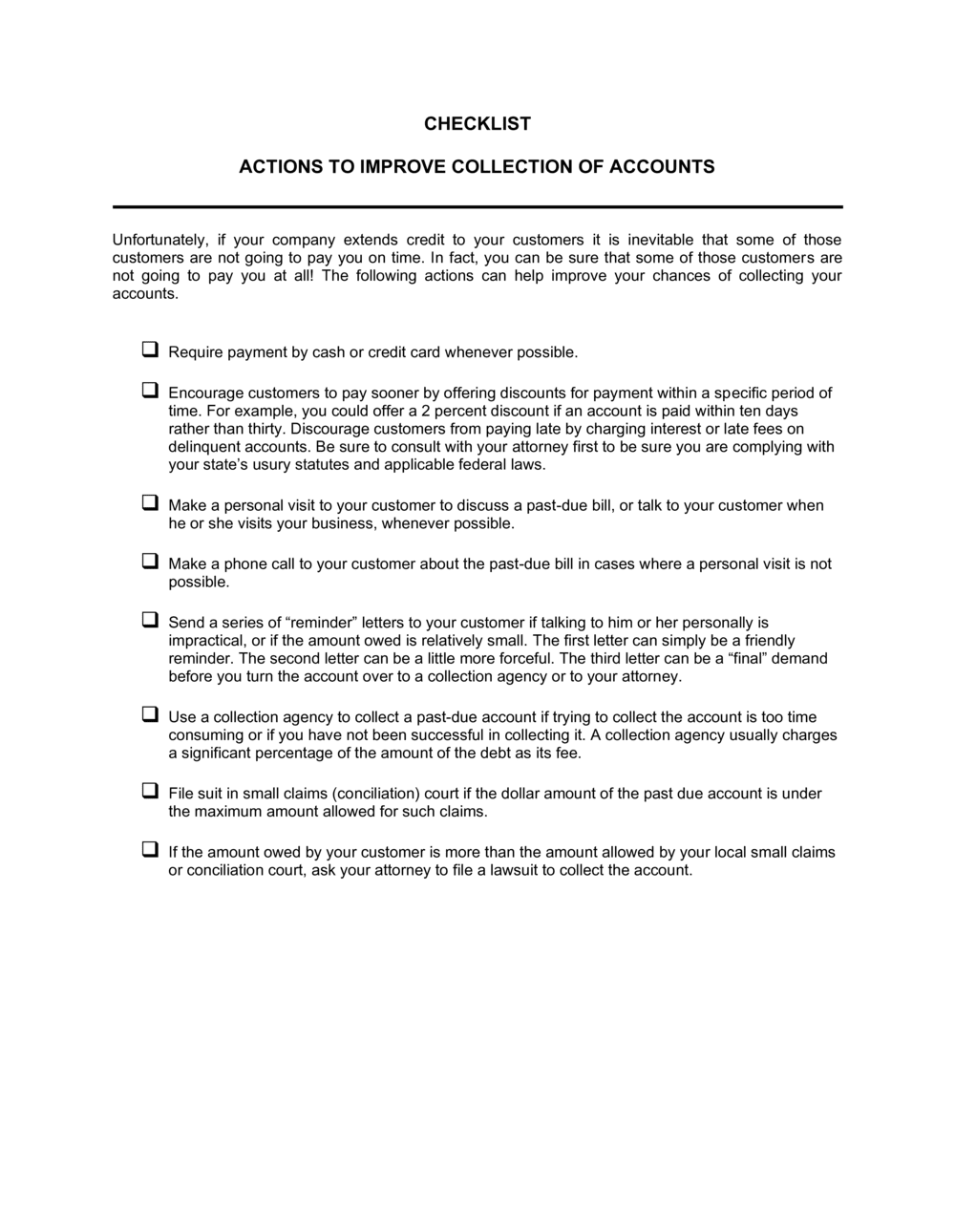 Business-in-a-Box's Checklist Action to Improve Collection of Accounts Template