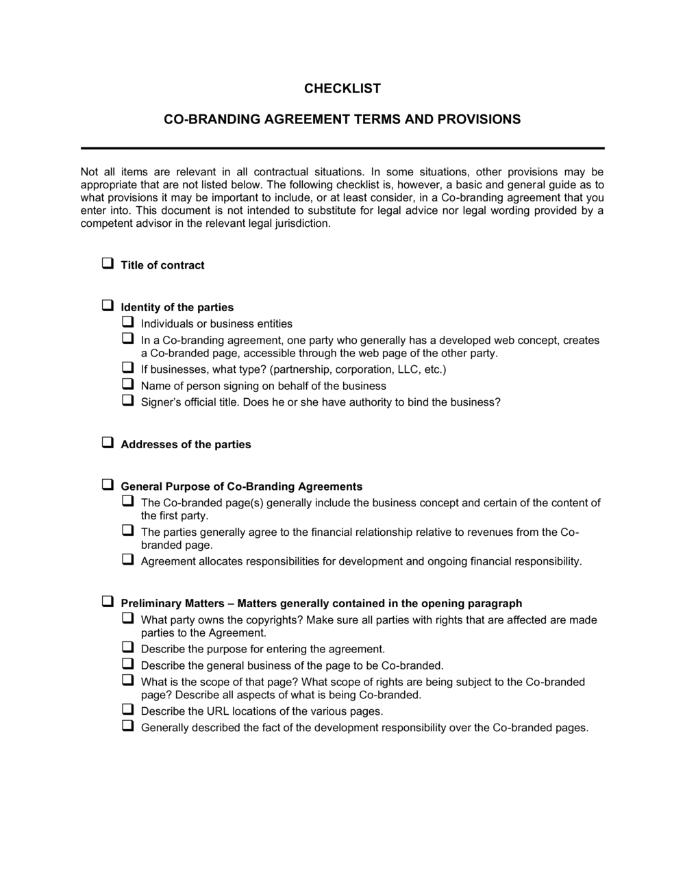 Business-in-a-Box's Checklist Co-Branding Agreement Template