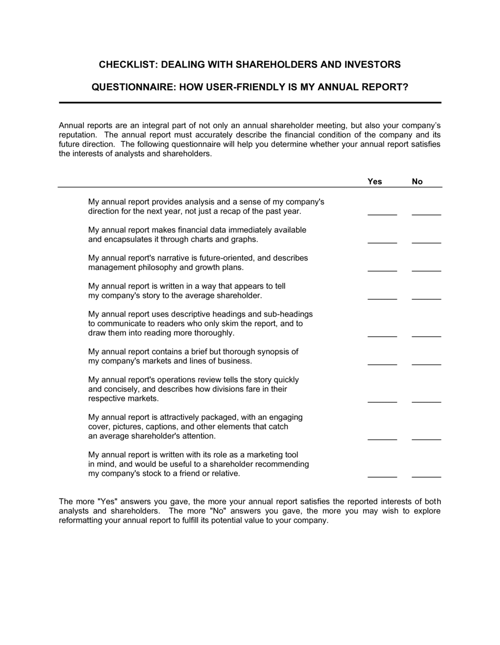 Business-in-a-Box's Checklist Dealing with Shareholders and Investors Template