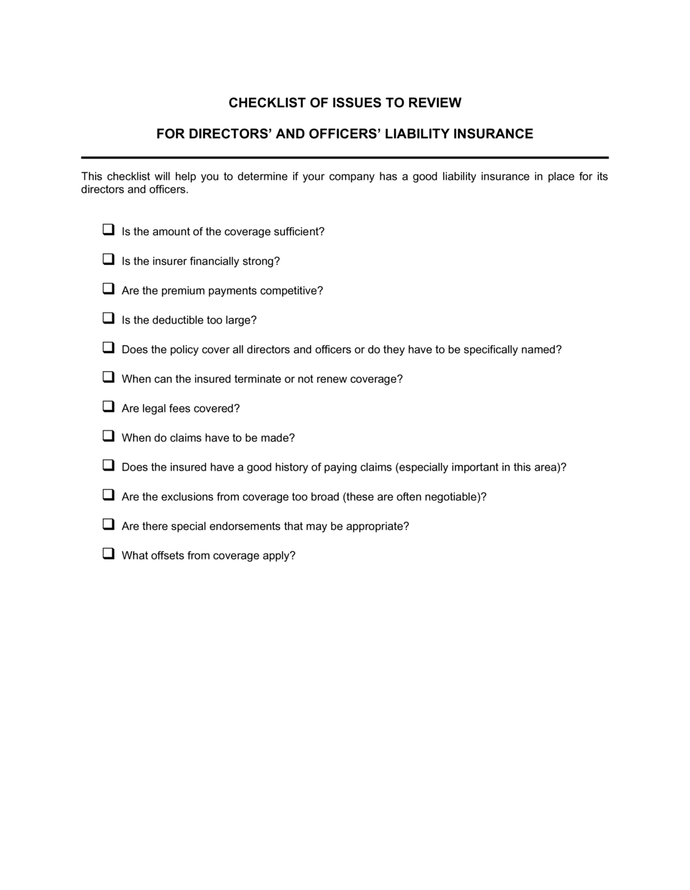 Business-in-a-Box's Checklist Directors and Officers Insurance Template