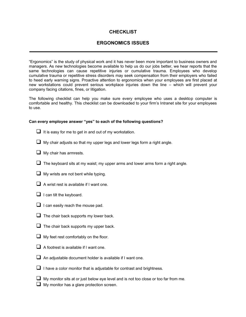 Business-in-a-Box's Checklist Ergonomics Template
