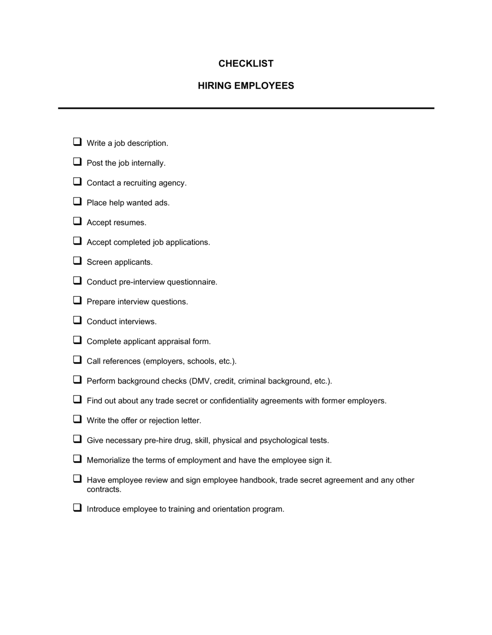 Business-in-a-Box's Checklist Hiring Employees Template