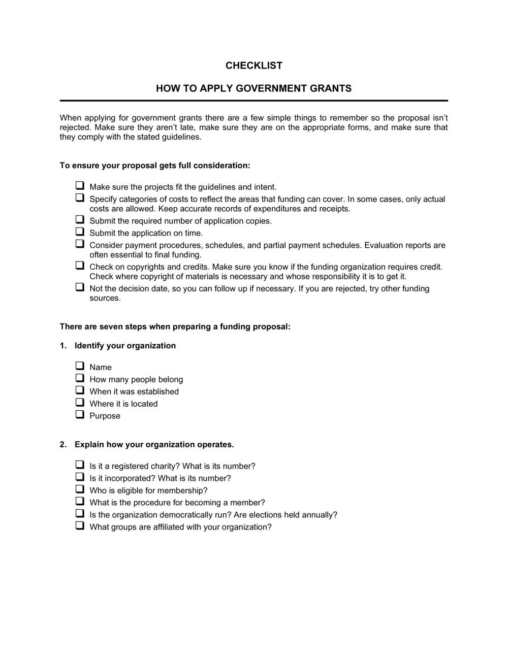 Business-in-a-Box's Checklist How to Apply Government Grants Template