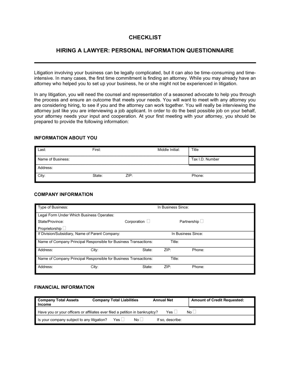 Business-in-a-Box's Checklist Questionnaire For Hiring a Lawyer Template
