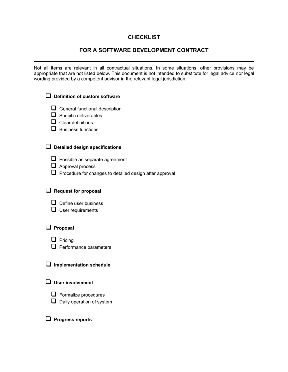 Checklist Software Development Contract Template By Business In A Box