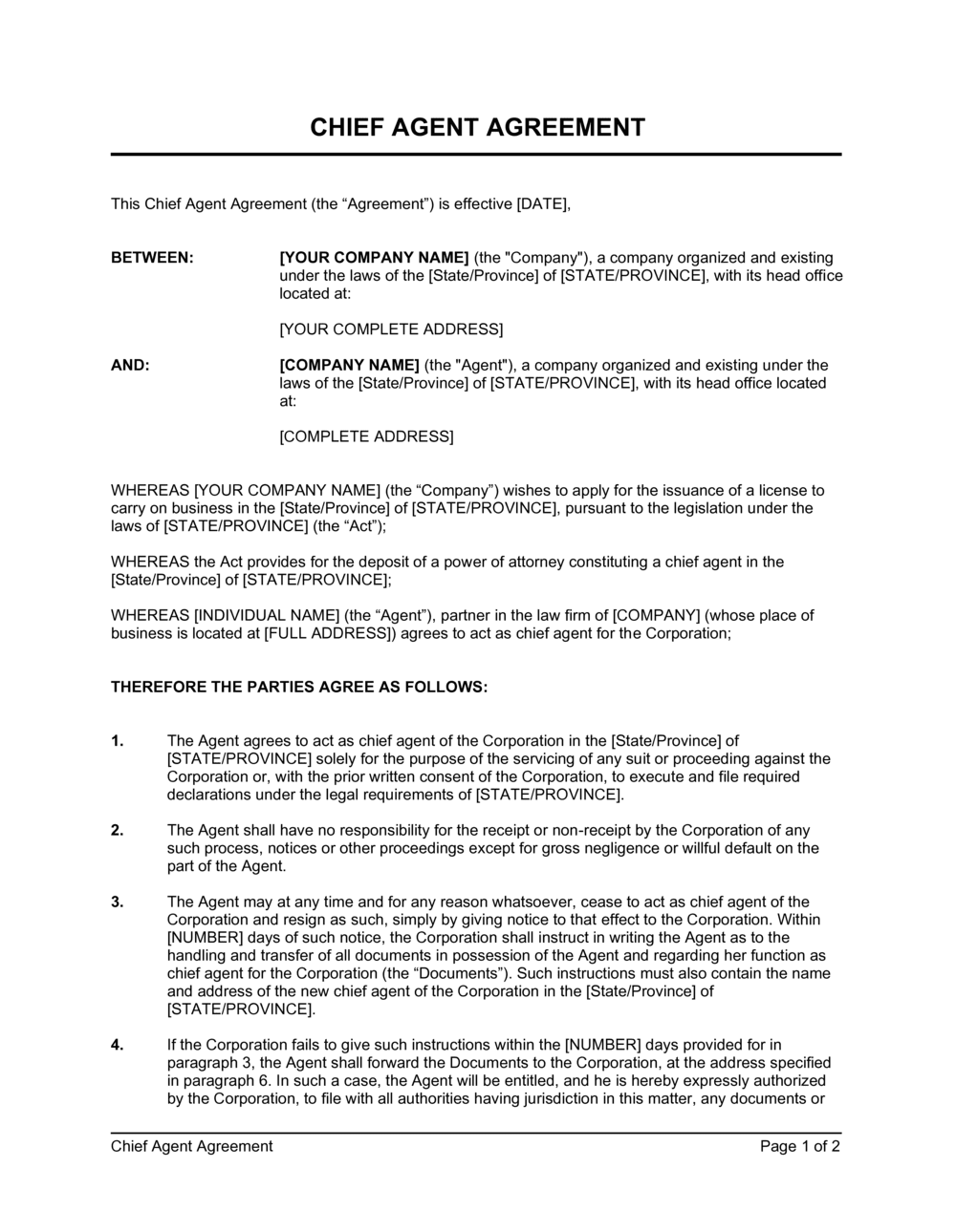 Business-in-a-Box's Chief Agent Agreement Short Form Template