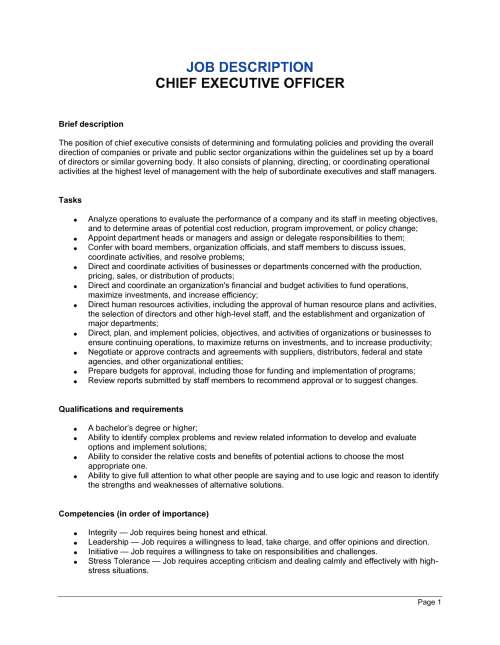 Business-in-a-Box's Chief Executive Job Description Template