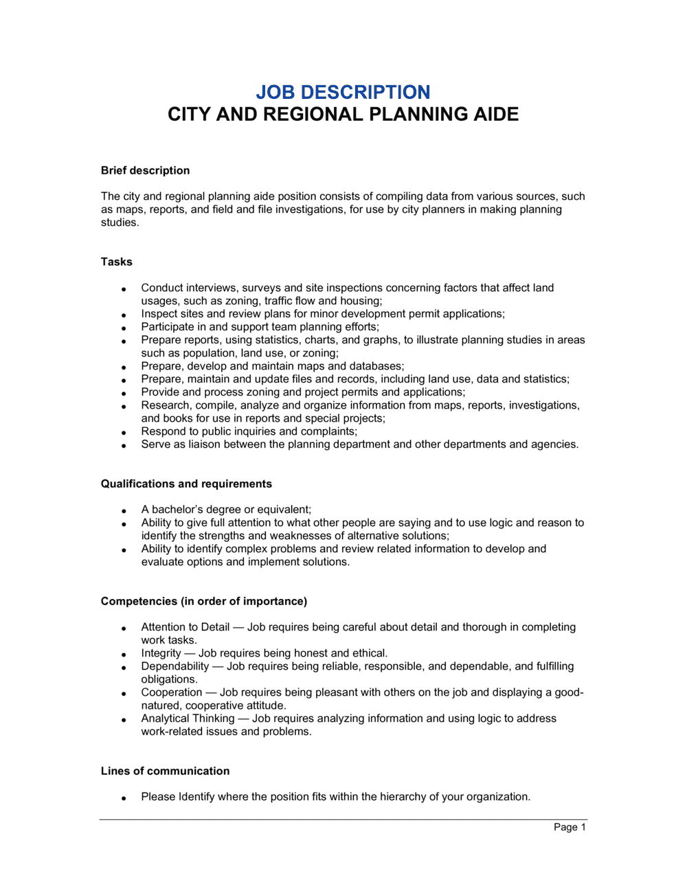 Business-in-a-Box's City and Regional Planning Aide Job Description Template