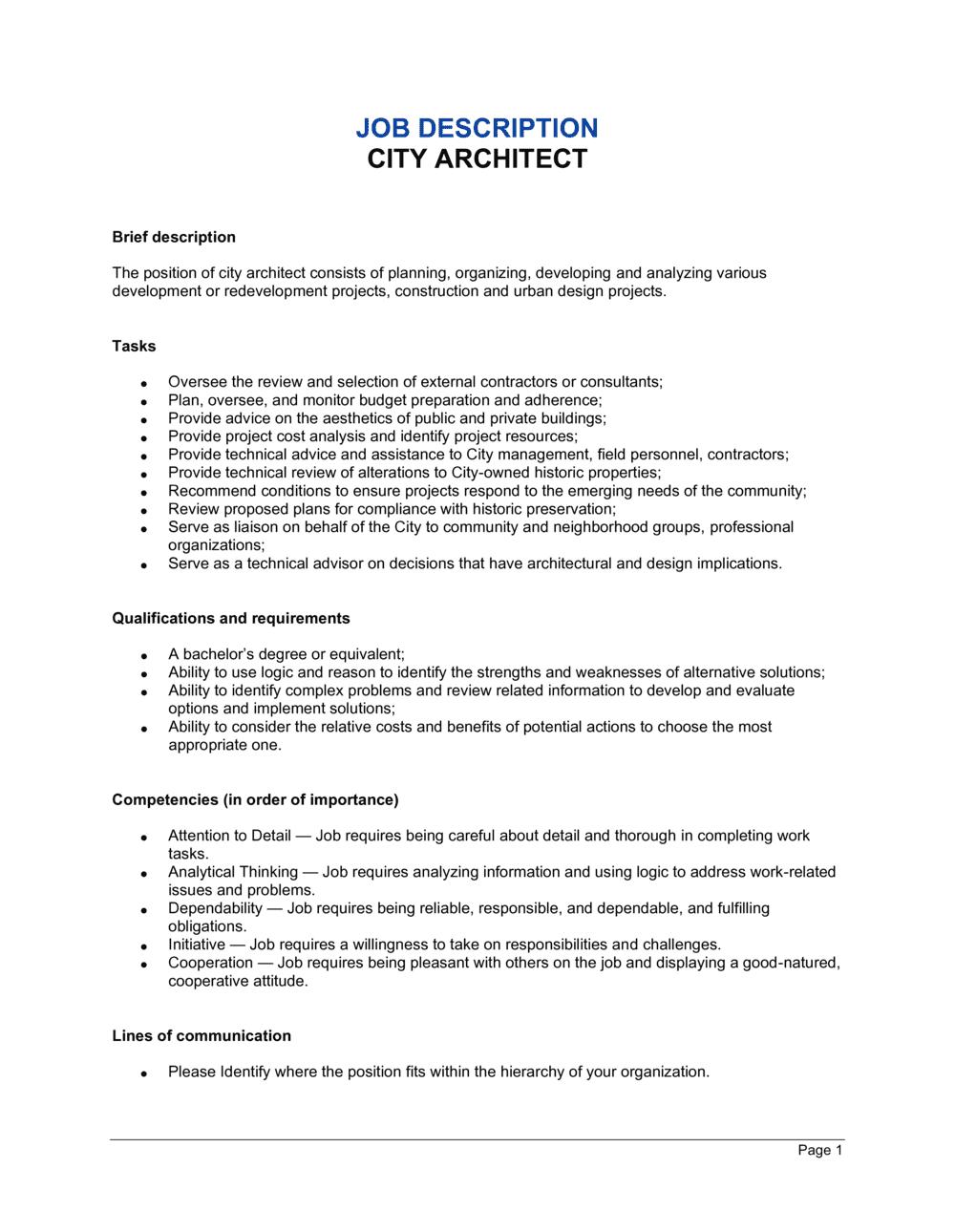 Business-in-a-Box's City Architect Job Description Template