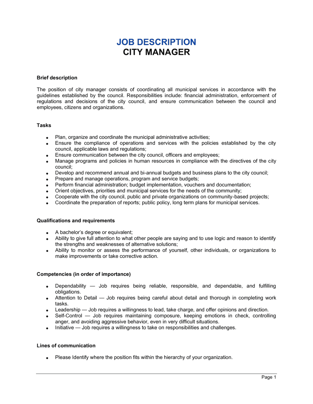 Business-in-a-Box's City Manager Job Description Template