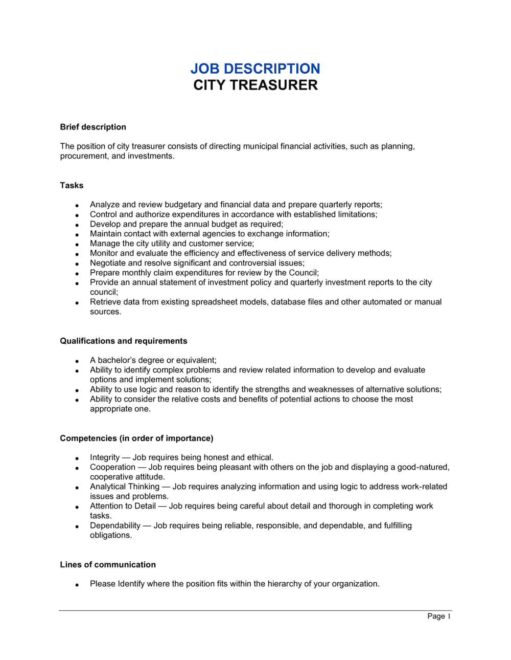 Business-in-a-Box's City Treasurer Job Description Template