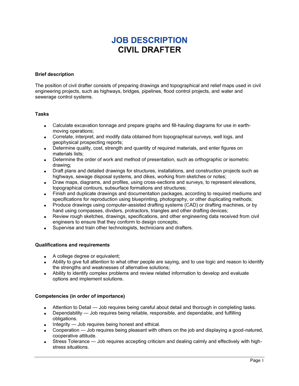 Business-in-a-Box's Civil Drafter Job Description Template