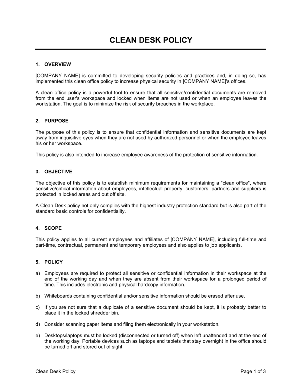 Business-in-a-Box's Clean Desk Policy Template