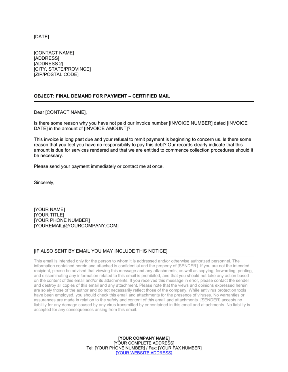 Business-in-a-Box's Collection Letter to Eliminate Disputes Template