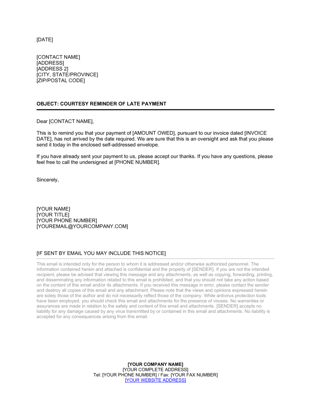 Business-in-a-Box's Collection Letter Initial Template