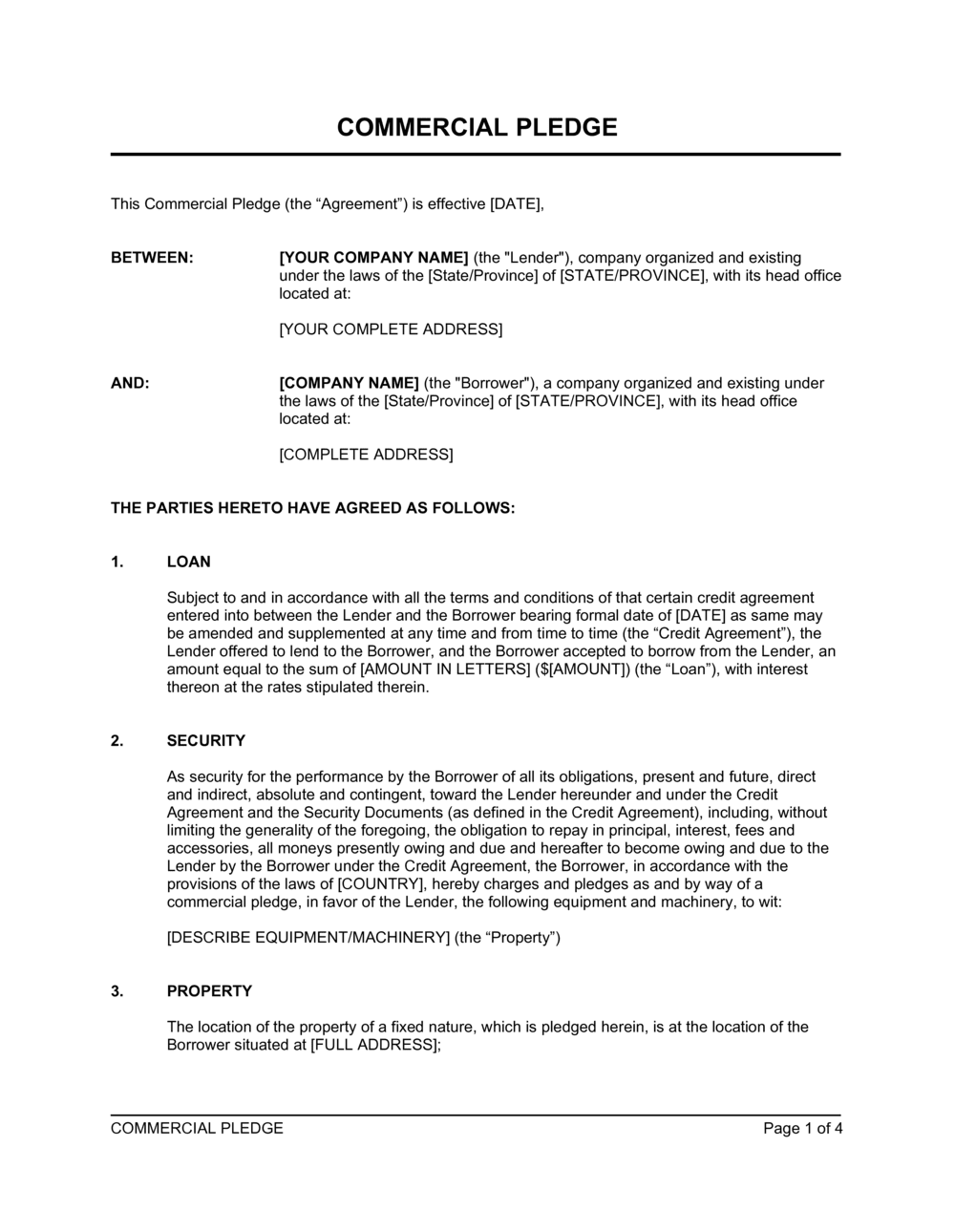 Business-in-a-Box's Commercial Pledge Equipment and Machinery Template