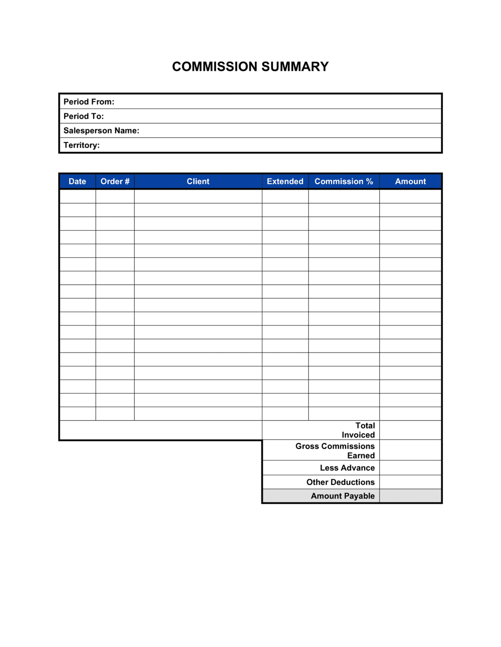 Business-in-a-Box's Commission Summary Template