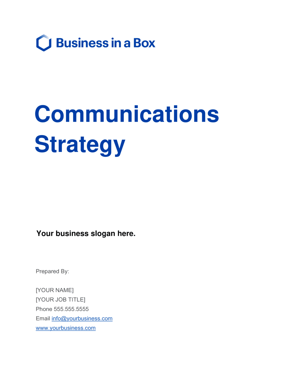 Business-in-a-Box's Communications Strategy Template