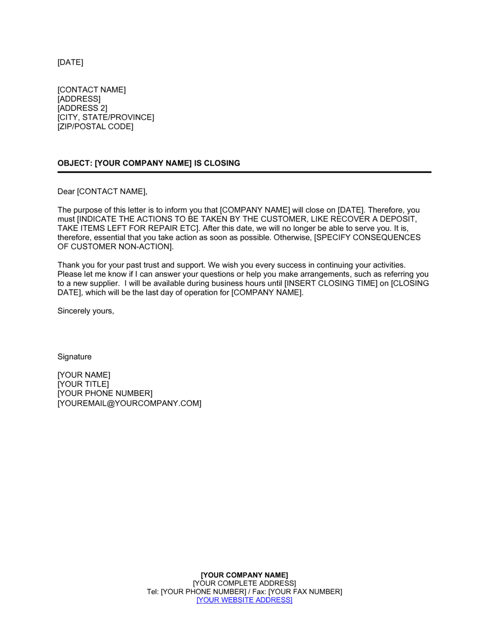 Business-in-a-Box's Company Is Closing Letter To Clients Template