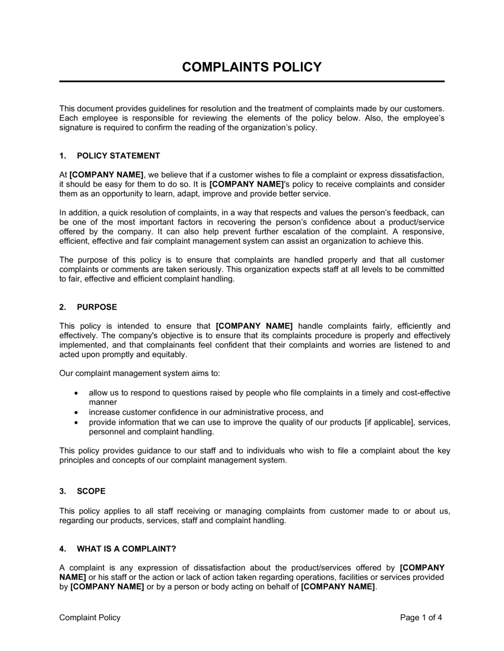 Business-in-a-Box's Complaint Policy Template