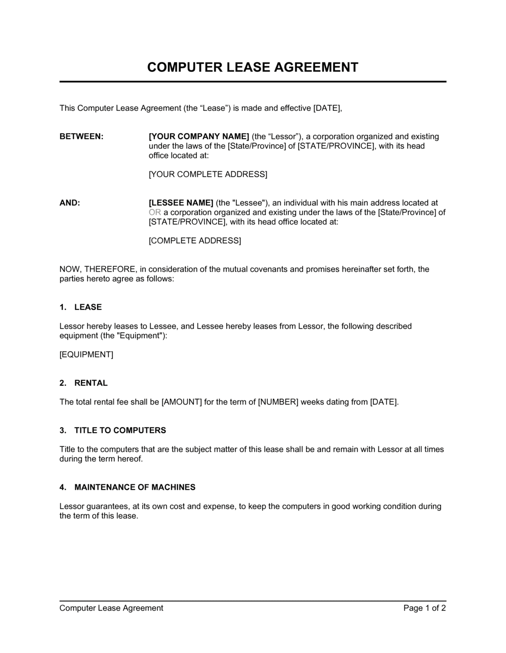 Business-in-a-Box's Computer Lease Agreement Template