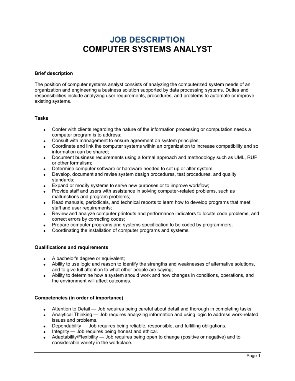 Business-in-a-Box's Computer System Analyst Job Description Template