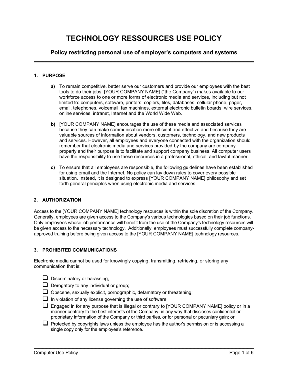 Business-in-a-Box's Computer Use Policy Template