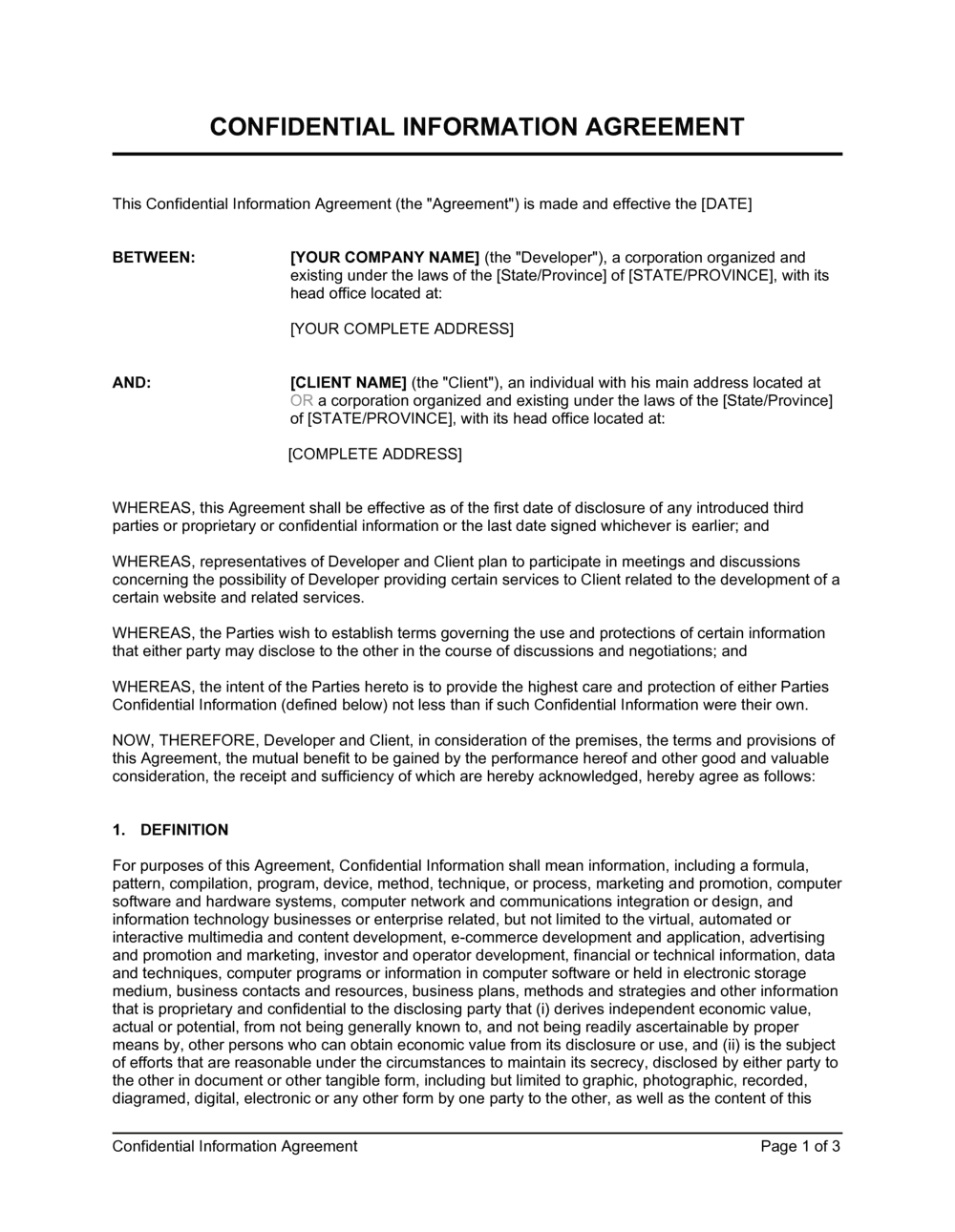 Business-in-a-Box's Confidential Information Agreement Template