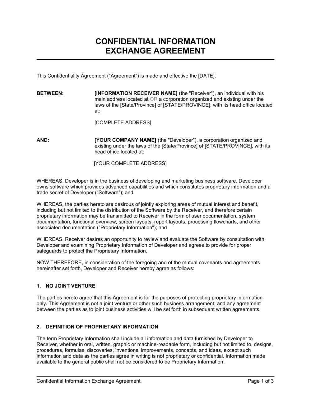 Business-in-a-Box's Confidential Information Exchange Agreement Template