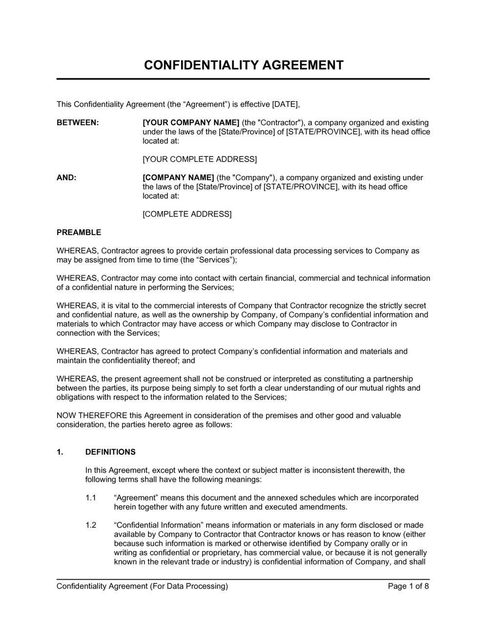 Business-in-a-Box's Confidentiality Agreement (Data Processing Services) Template